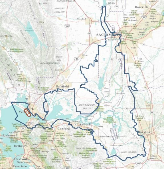 The proposed boundary of the Delta National Heritage Area