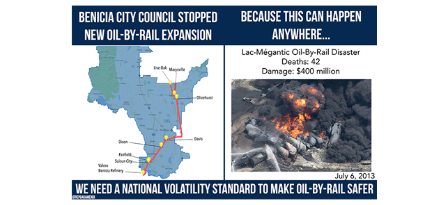 Congressman Garamendi Praises Benicia Decision to Reject Crude Oil-by-Rail Facility, Renews Call for National Volatility Safety Standard feature image